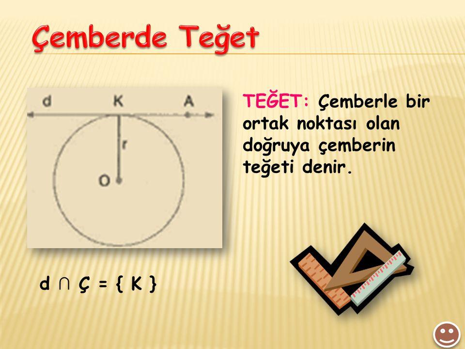 Çemberde Teğet TEĞET: Çemberle bir ortak noktası olan doğruya çemberin teğeti denir. d ∩ Ç = { K }