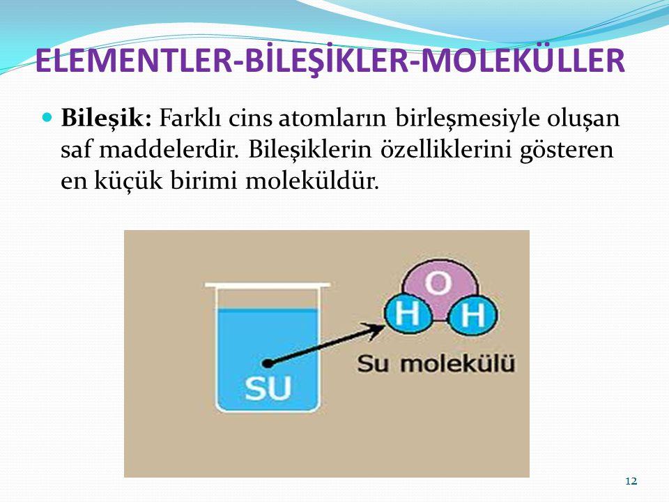 ELEMENTLER-BİLEŞİKLER-MOLEKÜLLER