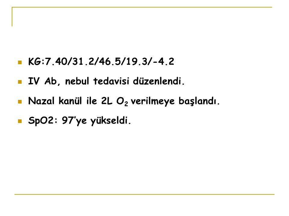 KG:7.40/31.2/46.5/19.3/-4.2 IV Ab, nebul tedavisi düzenlendi. Nazal kanül ile 2L O2 verilmeye başlandı.
