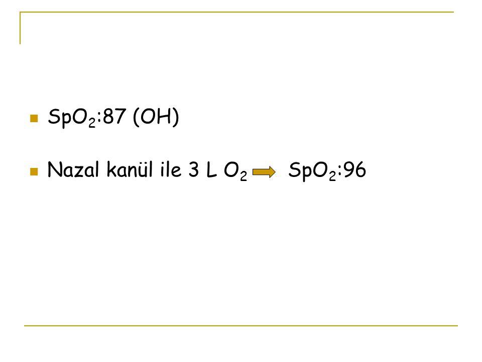 SpO2:87 (OH) Nazal kanül ile 3 L O2 SpO2:96