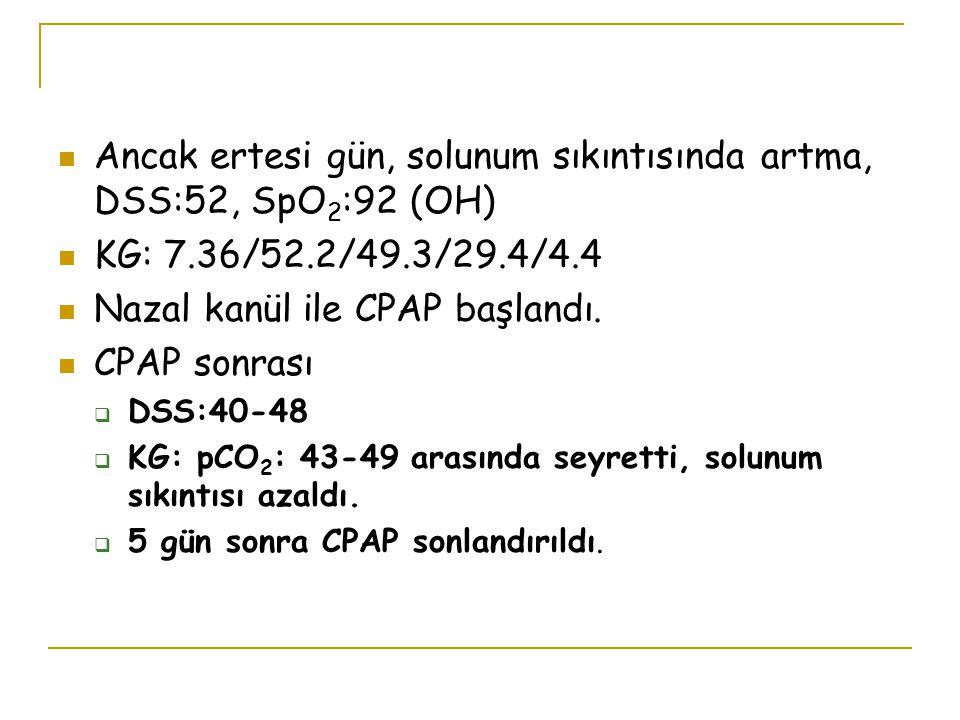 Ancak ertesi gün, solunum sıkıntısında artma, DSS:52, SpO2:92 (OH)