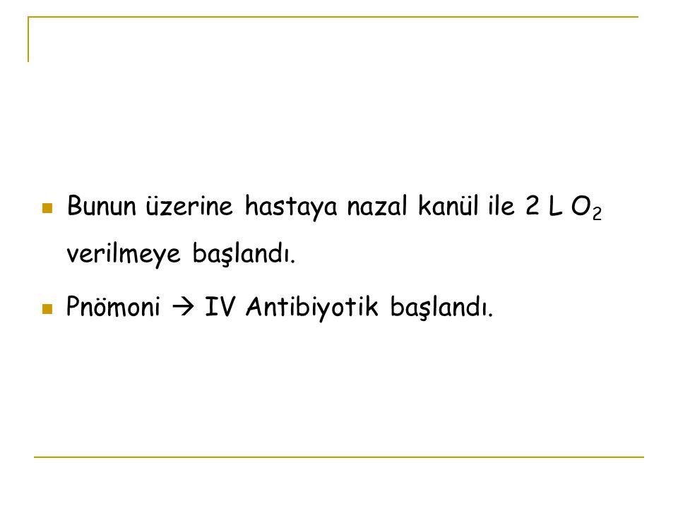 Bunun üzerine hastaya nazal kanül ile 2 L O2 verilmeye başlandı.