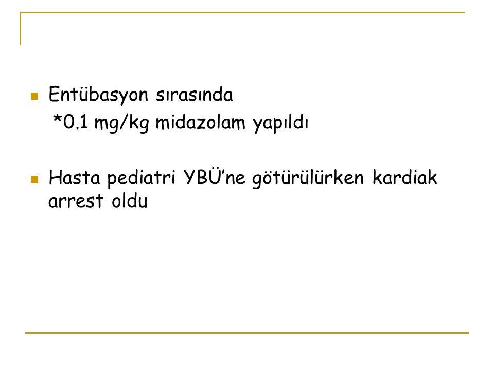 Entübasyon sırasında *0.1 mg/kg midazolam yapıldı.