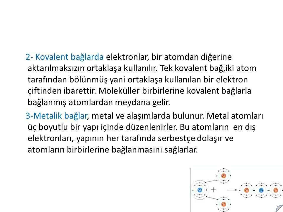 2- Kovalent bağlarda elektronlar, bir atomdan diğerine aktarılmaksızın ortaklaşa kullanılır. Tek kovalent bağ,iki atom tarafından bölünmüş yani ortaklaşa kullanılan bir elektron çiftinden ibarettir. Moleküller birbirlerine kovalent bağlarla bağlanmış atomlardan meydana gelir.