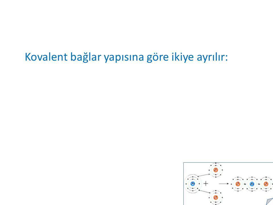 Kovalent bağlar yapısına göre ikiye ayrılır: