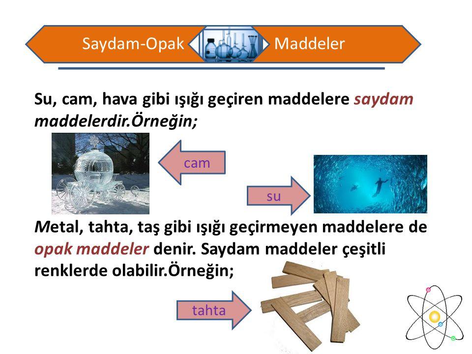Su, cam, hava gibi ışığı geçiren maddelere saydam maddelerdir.Örneğin;