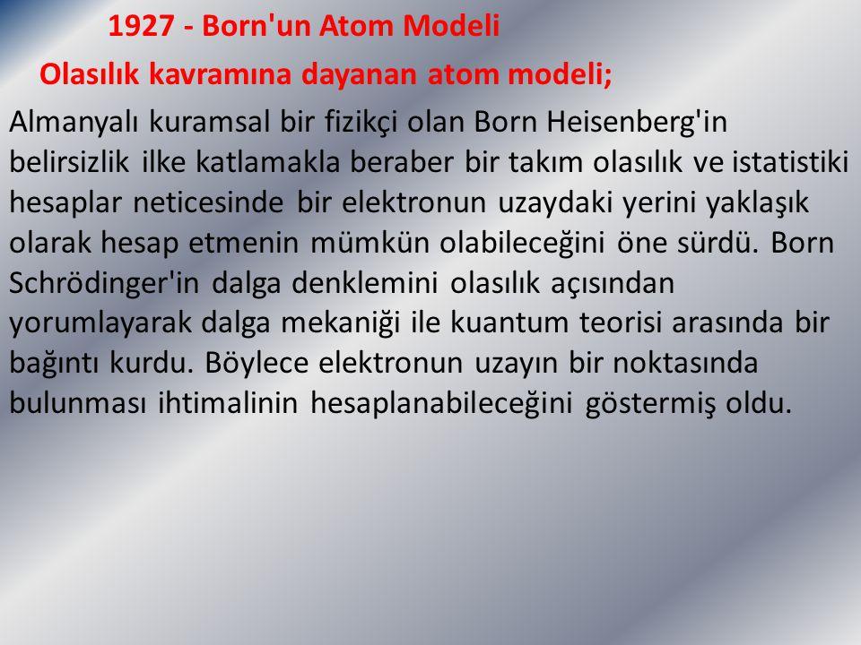 1927 - Born un Atom Modeli Olasılık kavramına dayanan atom modeli; Almanyalı kuramsal bir fizikçi olan Born Heisenberg in belirsizlik ilke katlamakla beraber bir takım olasılık ve istatistiki hesaplar neticesinde bir elektronun uzaydaki yerini yaklaşık olarak hesap etmenin mümkün olabileceğini öne sürdü.