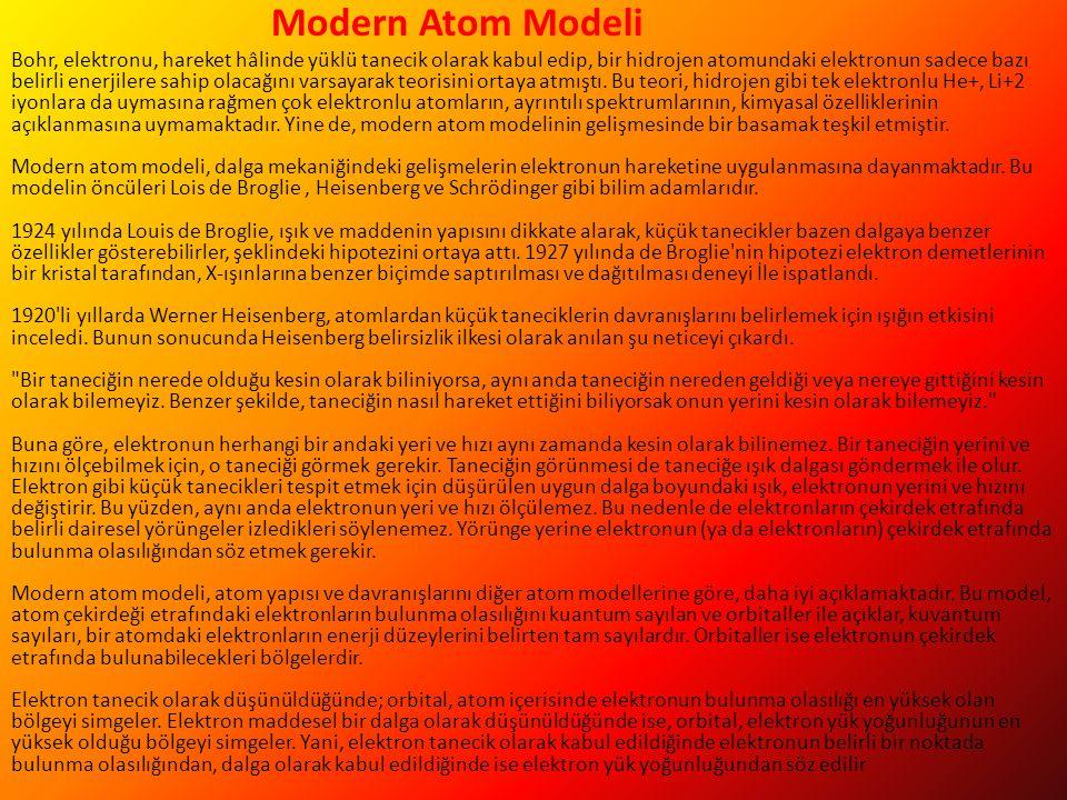 Modern Atom Modeli Bohr, elektronu, hareket hâlinde yüklü tanecik olarak kabul edip, bir hidrojen atomundaki elektronun sadece bazı belirli enerjilere sahip olacağını varsayarak teorisini ortaya atmıştı.