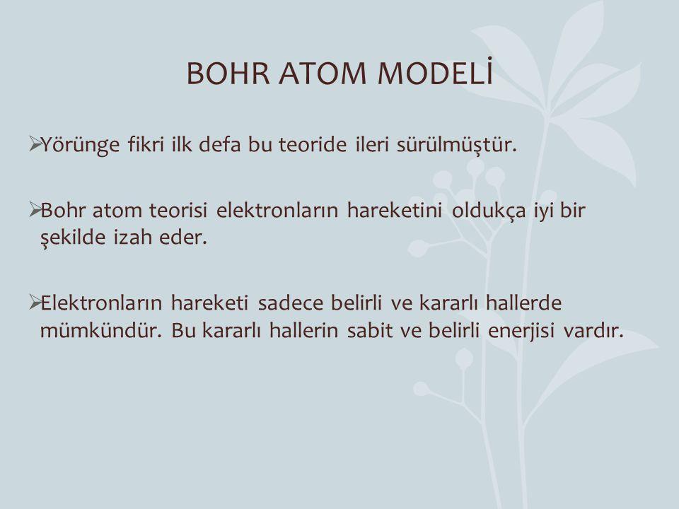 BOHR ATOM MODELİ Yörünge fikri ilk defa bu teoride ileri sürülmüştür.