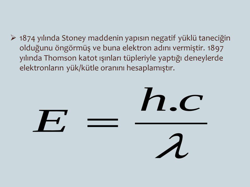 1874 yılında Stoney maddenin yapısın negatif yüklü taneciğin olduğunu öngörmüş ve buna elektron adını vermiştir.