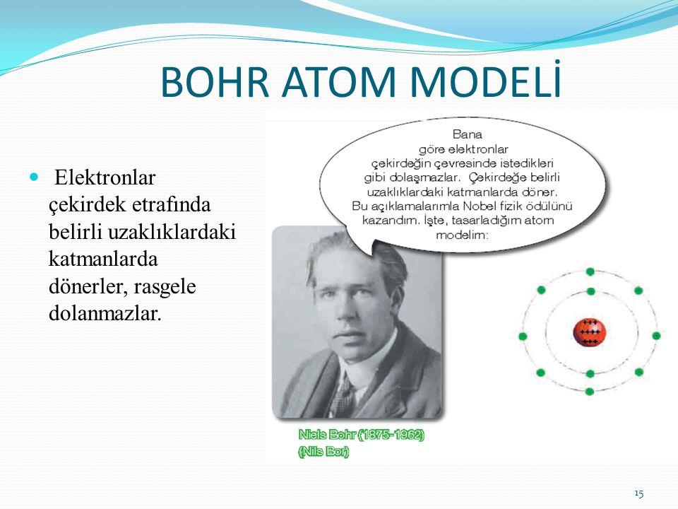 BOHR ATOM MODELİ Elektronlar çekirdek etrafında belirli uzaklıklardaki katmanlarda dönerler, rasgele dolanmazlar.