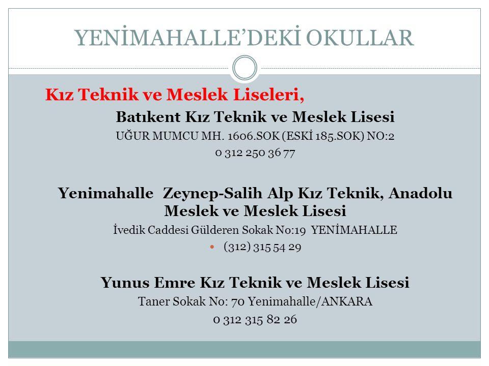 YENİMAHALLE'DEKİ OKULLAR
