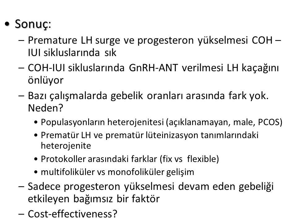 Sonuç: Premature LH surge ve progesteron yükselmesi COH –IUI sikluslarında sık. COH-IUI sikluslarında GnRH-ANT verilmesi LH kaçağını önlüyor.