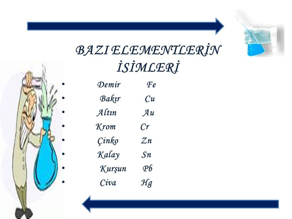 BAZI ELEMENTLERİN İSİMLERİ