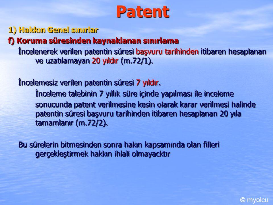 Patent 1) Hakkın Genel sınırlar
