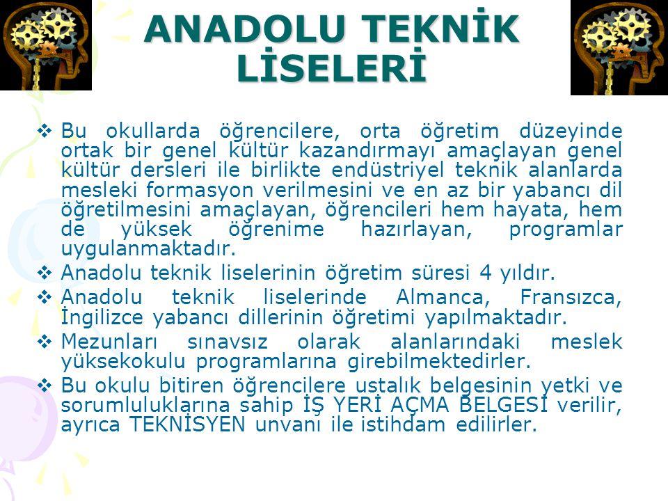 ANADOLU TEKNİK LİSELERİ