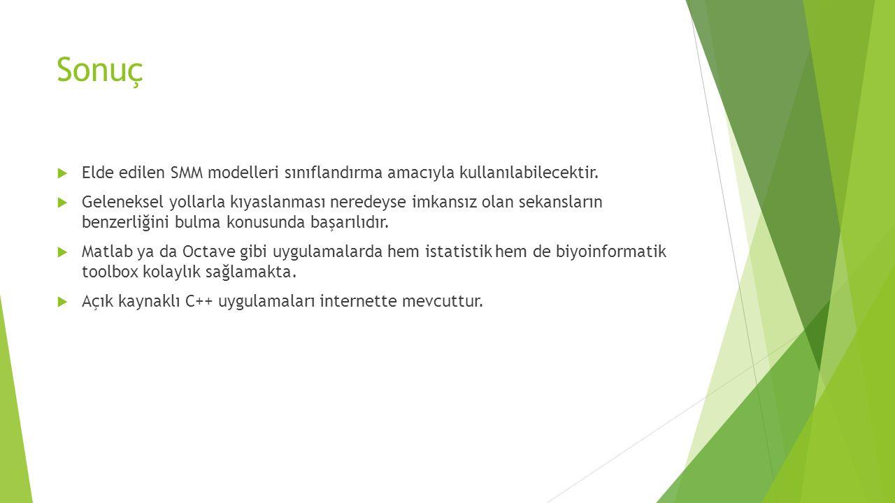 Sonuç Elde edilen SMM modelleri sınıflandırma amacıyla kullanılabilecektir.