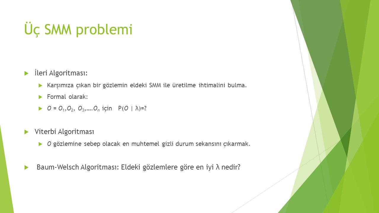 Üç SMM problemi İleri Algoritması: Viterbi Algoritması