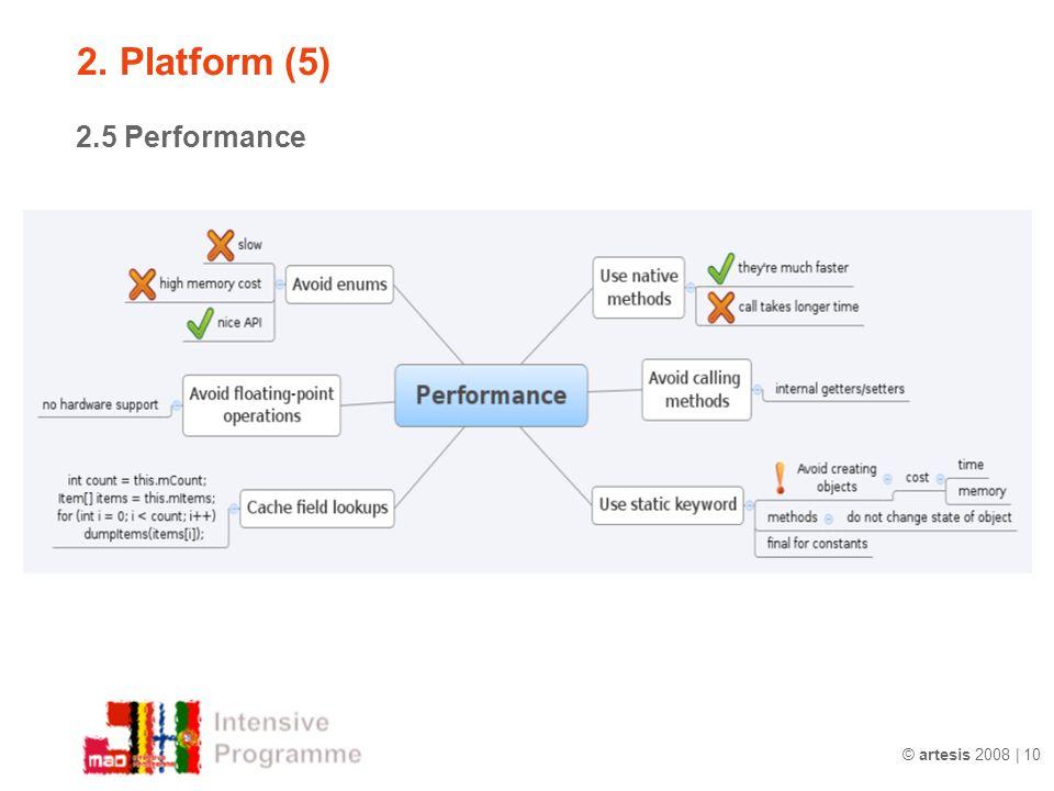 2. Platform (5) 2.5 Performance © artesis 2008 | 10