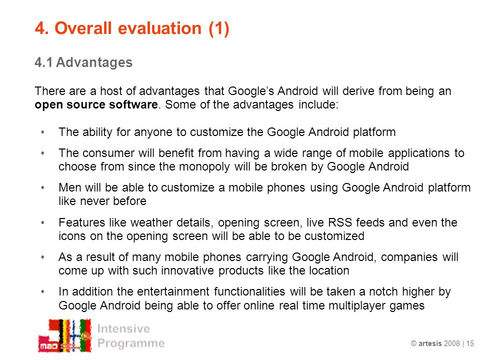 4. Overall evaluation (1) 4.1 Advantages