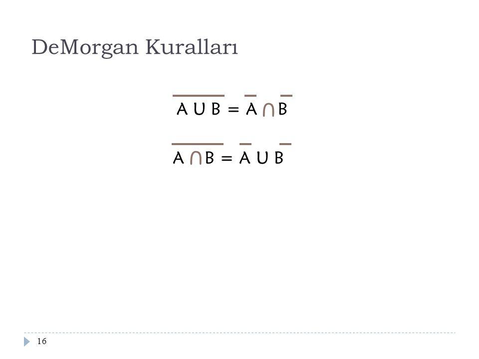 DeMorgan Kuralları A U B = A B U A B = A U B U