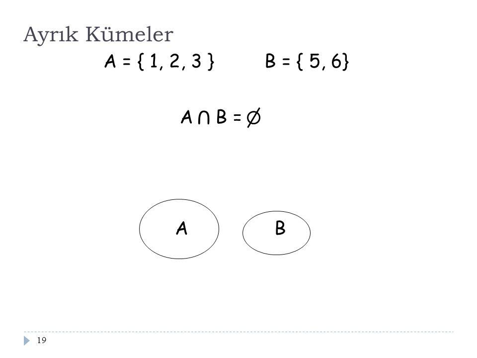 Ayrık Kümeler A = { 1, 2, 3 } B = { 5, 6} A B = U A B