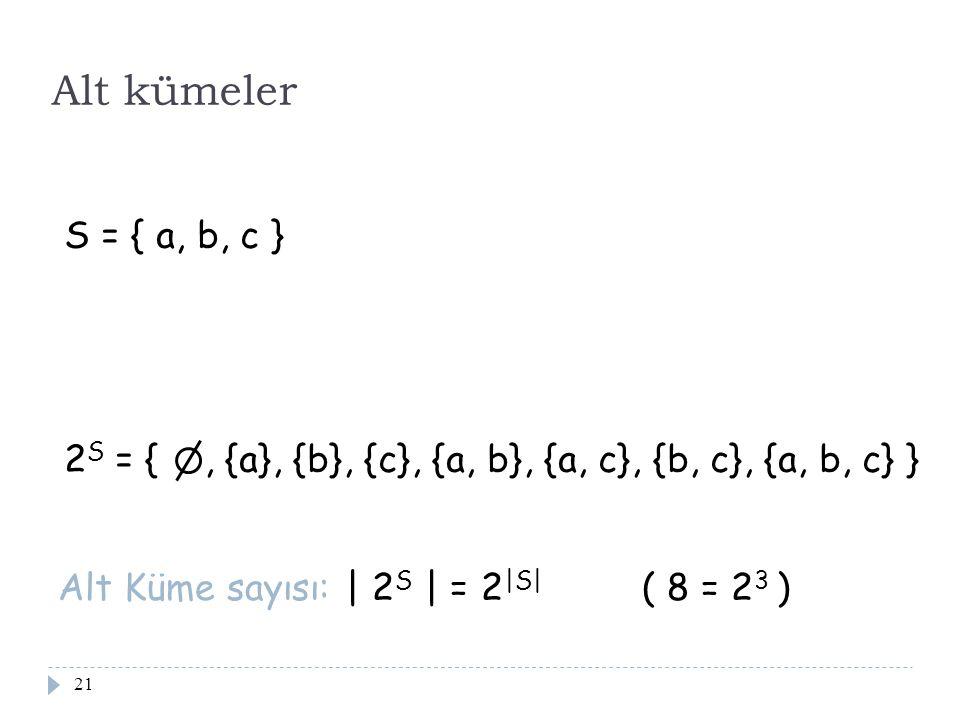 Alt kümeler S = { a, b, c } 2S = { , {a}, {b}, {c}, {a, b}, {a, c}, {b, c}, {a, b, c} } Alt Küme sayısı: | 2S | = 2|S| ( 8 = 23 )