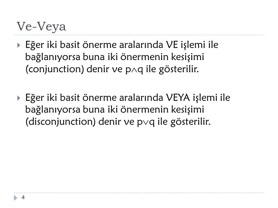 Ve-Veya Eğer iki basit önerme aralarında VE işlemi ile bağlanıyorsa buna iki önermenin kesişimi (conjunction) denir ve pq ile gösterilir.