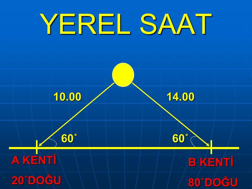 YEREL SAAT 10.00 14.00 60˚ 60˚ A KENTİ 20˚DOĞU B KENTİ 80˚DOĞU