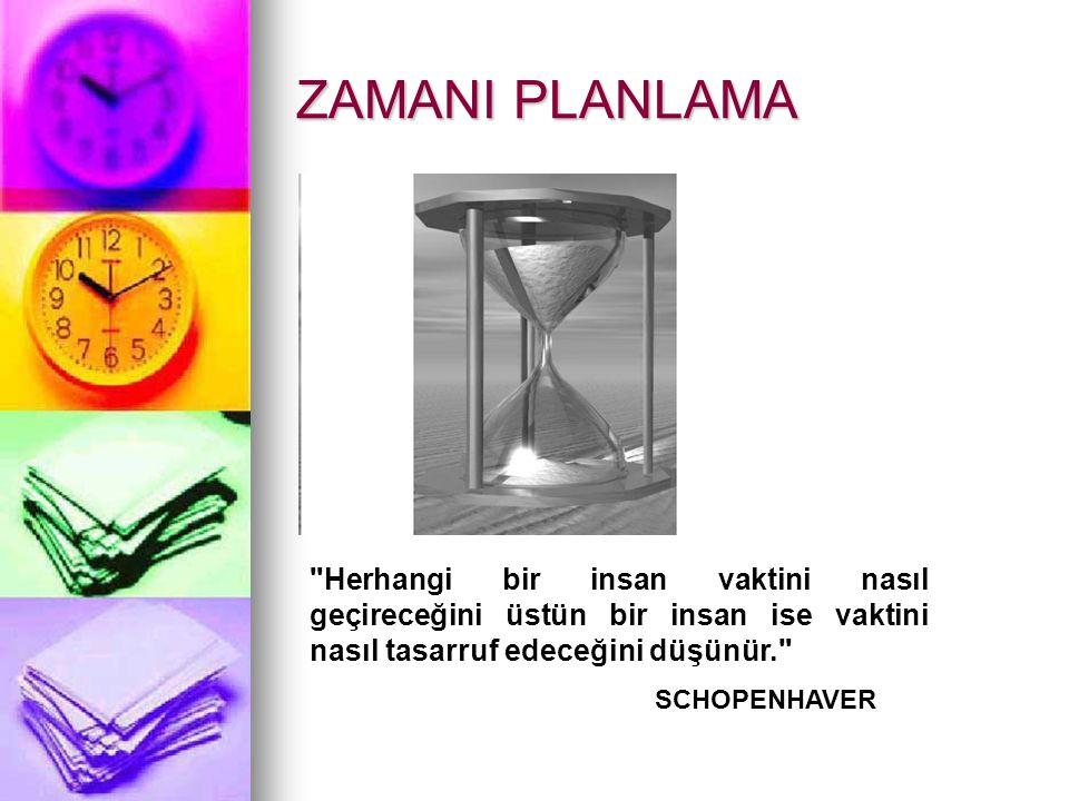 ZAMANI PLANLAMA Herhangi bir insan vaktini nasıl geçireceğini üstün bir insan ise vaktini nasıl tasarruf edeceğini düşünür.