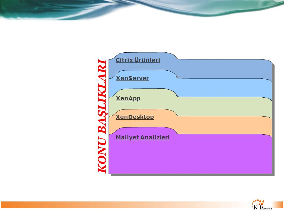 KONU BAŞLIKLARI Citrix Ürünleri XenServer XenApp XenDesktop