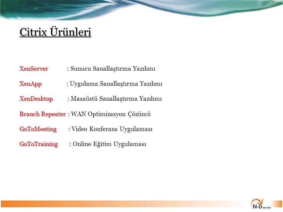 Citrix Ürünleri XenServer : Sunucu Sanallaştırma Yazılımı XenApp : Uygulama Sanallaştırma Yazılımı XenDesktop : Masaüstü Sanallaştırma Yazılımı Branch Repeater : WAN Optimizasyon Çözümü GoToMeeting : Video Konferans Uygulaması GoToTraining : Online Eğitim Uygulaması