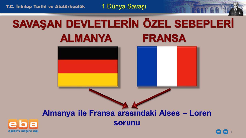 SAVAŞAN DEVLETLERİN ÖZEL SEBEPLERİ ALMANYA FRANSA