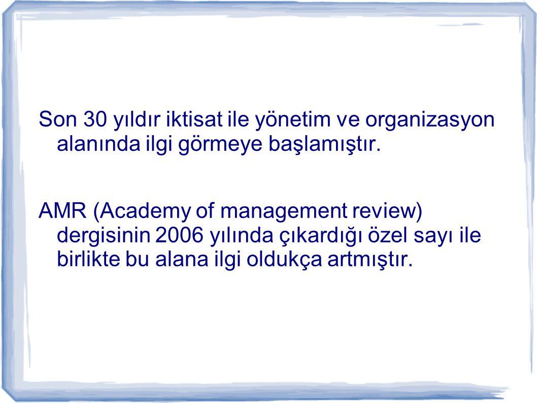 Son 30 yıldır iktisat ile yönetim ve organizasyon alanında ilgi görmeye başlamıştır.