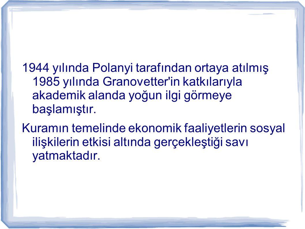 1944 yılında Polanyi tarafından ortaya atılmış 1985 yılında Granovetter in katkılarıyla akademik alanda yoğun ilgi görmeye başlamıştır.