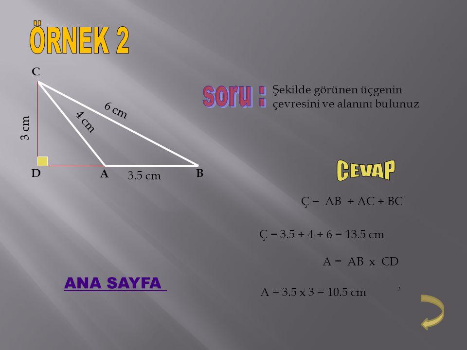 ÖRNEK 2 soru : CEVAP ANA SAYFA 3.5 cm 4 cm 6 cm 3 cm A B C D