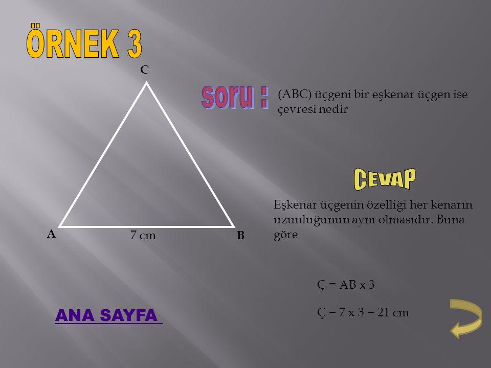 ÖRNEK 3 soru : CEVAP ANA SAYFA A B C 7 cm
