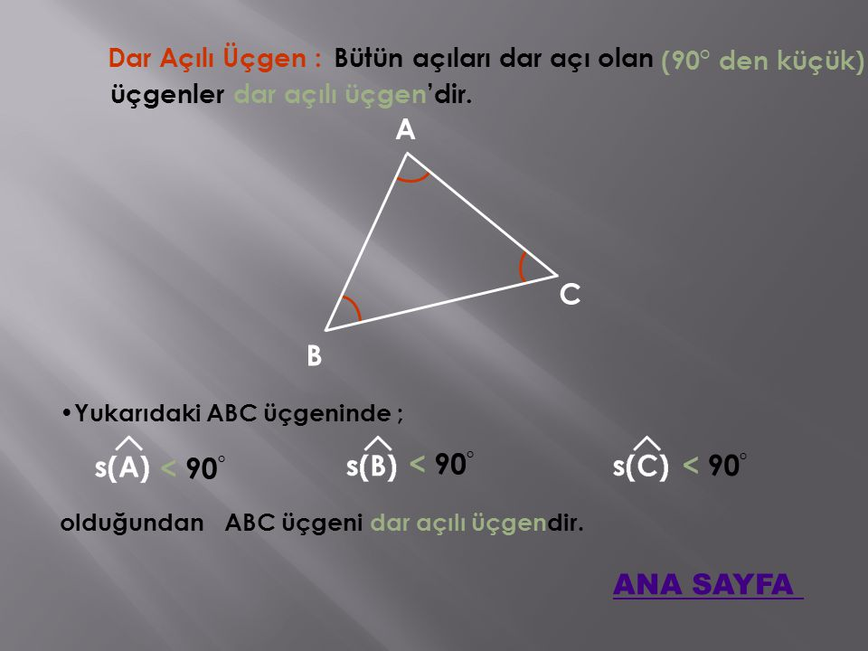 A C B < 90° < 90° < 90° ANA SAYFA Dar Açılı Üçgen :