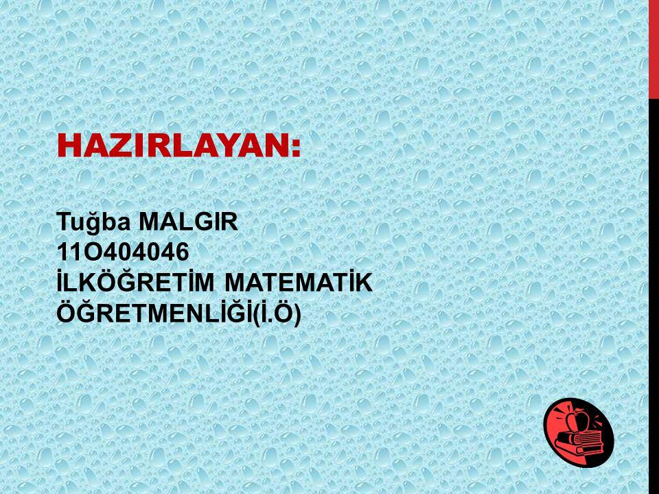 HAZIRLAYAN: Tuğba MALGIR 11O404046
