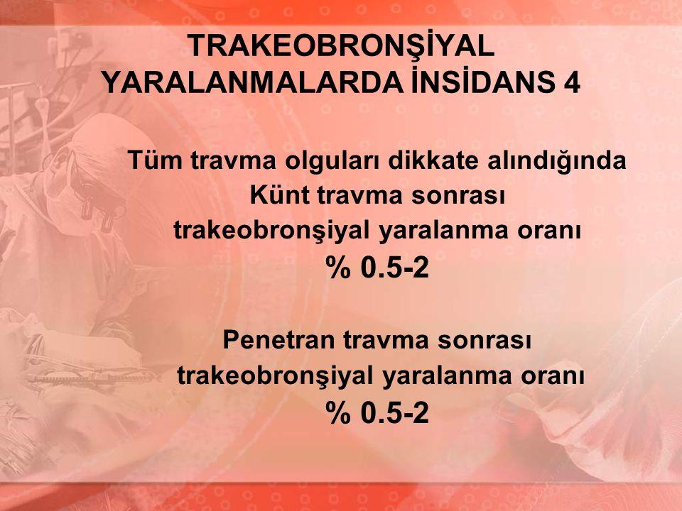 TRAKEOBRONŞİYAL YARALANMALARDA İNSİDANS 4