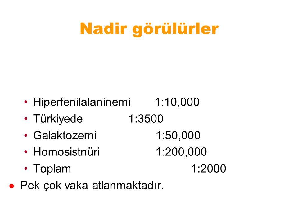 Nadir görülürler Hiperfenilalaninemi 1:10,000 Türkiyede 1:3500