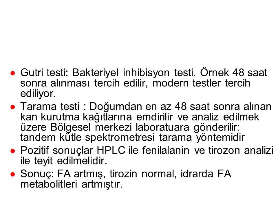 Tanı Gutri testi: Bakteriyel inhibisyon testi. Örnek 48 saat sonra alınması tercih edilir, modern testler tercih ediliyor.