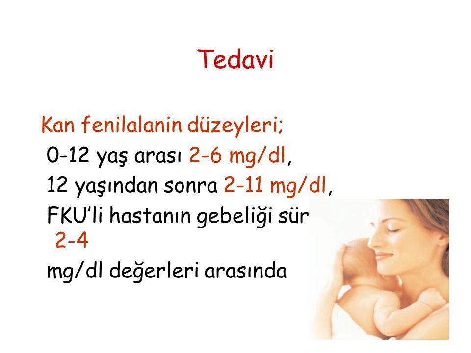 Tedavi Kan fenilalanin düzeyleri; 0-12 yaş arası 2-6 mg/dl,