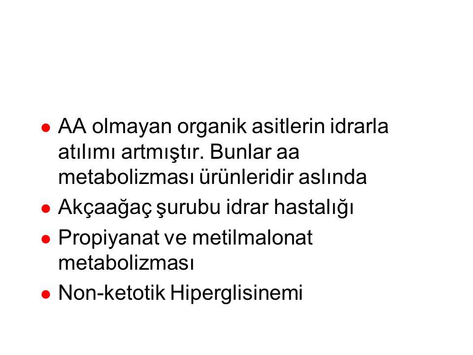 Organik Asitüriler AA olmayan organik asitlerin idrarla atılımı artmıştır. Bunlar aa metabolizması ürünleridir aslında.
