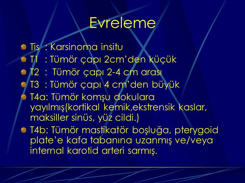 Evreleme Tis : Karsinoma insitu T1 : Tümör çapı 2cm'den küçük