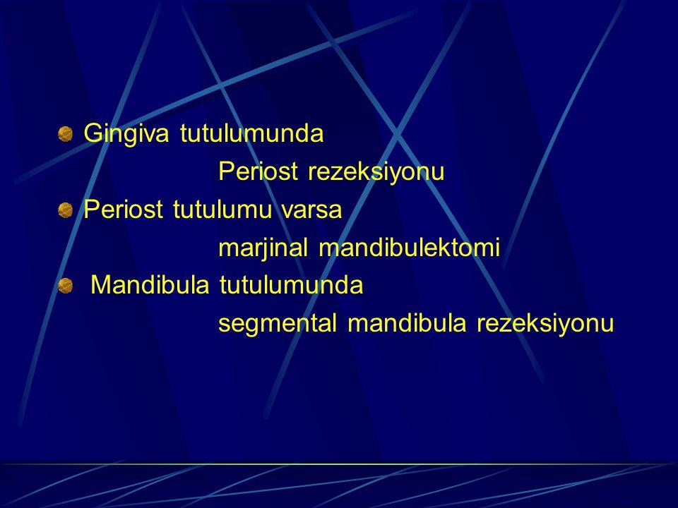 Gingiva tutulumunda Periost rezeksiyonu. Periost tutulumu varsa. marjinal mandibulektomi. Mandibula tutulumunda.