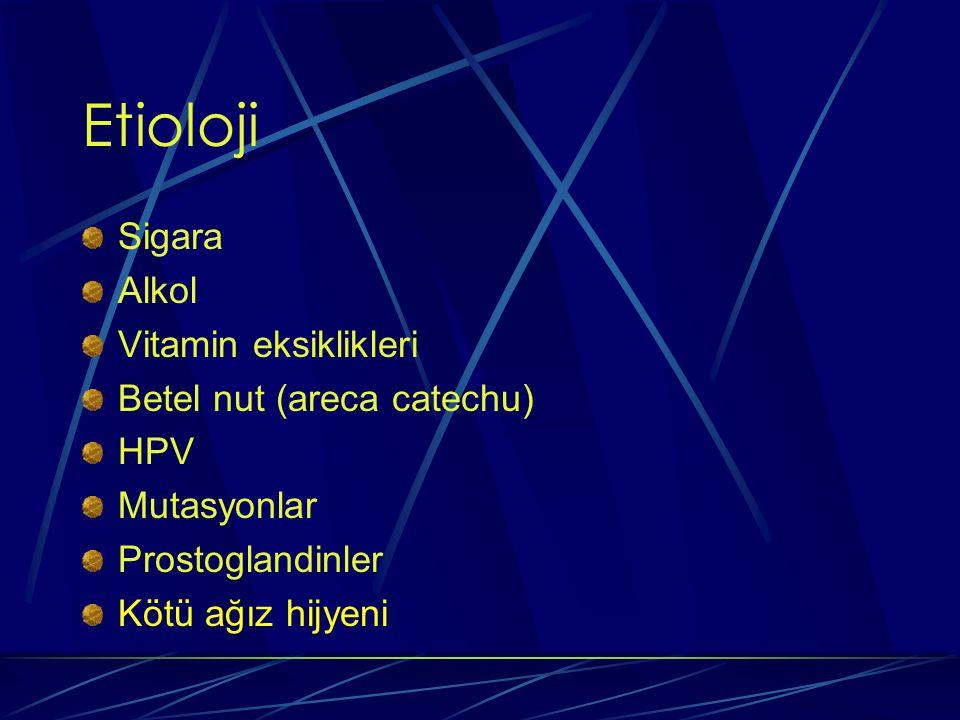 Etioloji Sigara Alkol Vitamin eksiklikleri Betel nut (areca catechu)