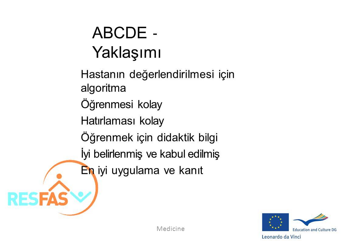 ABCDE ‐ Yaklaşımı Hastanın değerlendirilmesi için algoritma