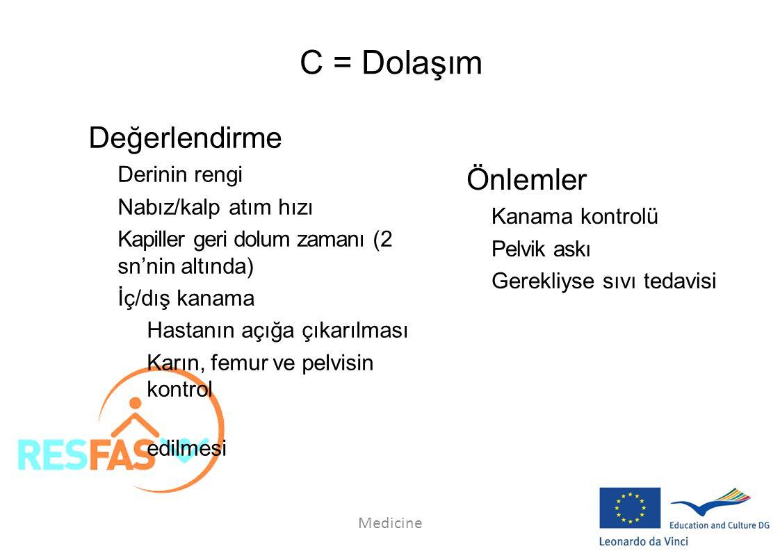 C = Dolaşım Değerlendirme Önlemler Derinin rengi Nabız/kalp atım hızı