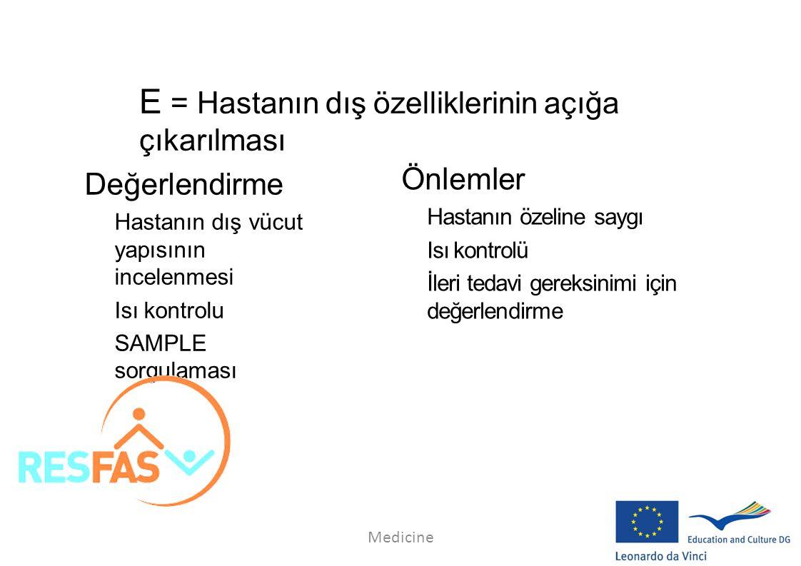 E = Hastanın dış özelliklerinin açığa çıkarılması